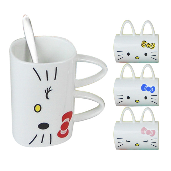 14oz Double Handles Printed Pet Ceramic Cup