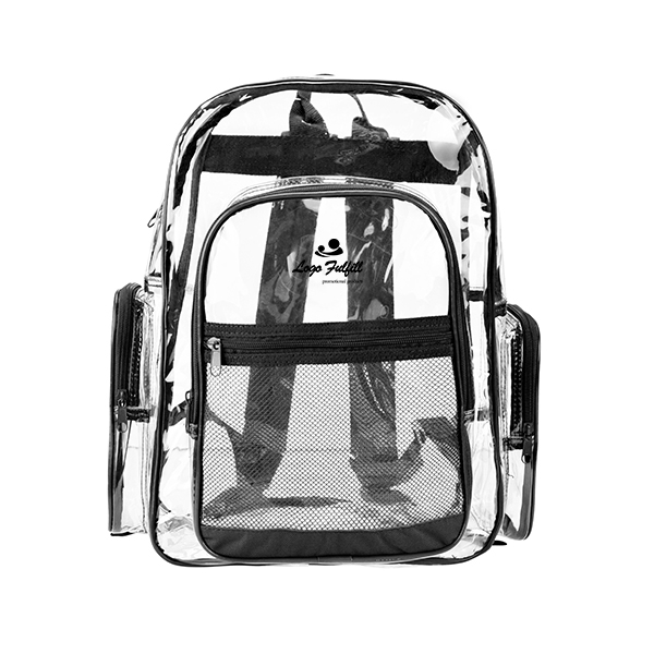 Transparent PVC School Backpack with Black Trim