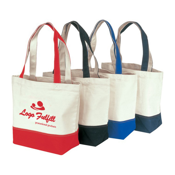 Accent Handle Cotton Grocery Bag