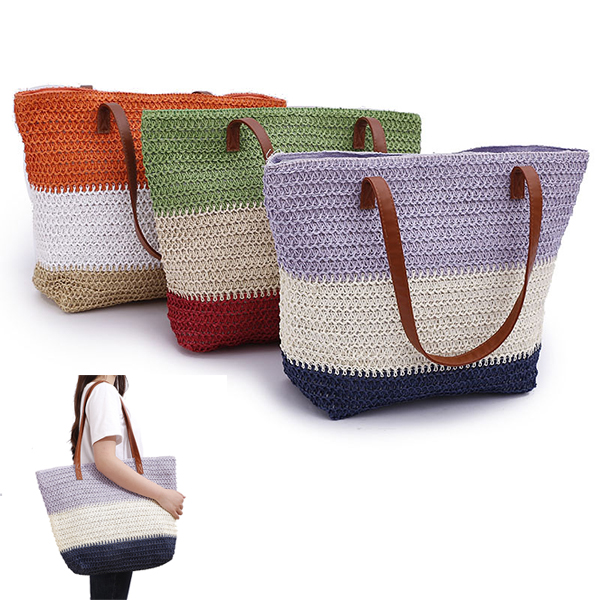 Natural Colorblock Beach Tote - Countryside
