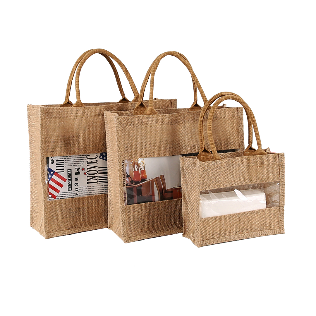 Jute Veggie Box Tote with Window